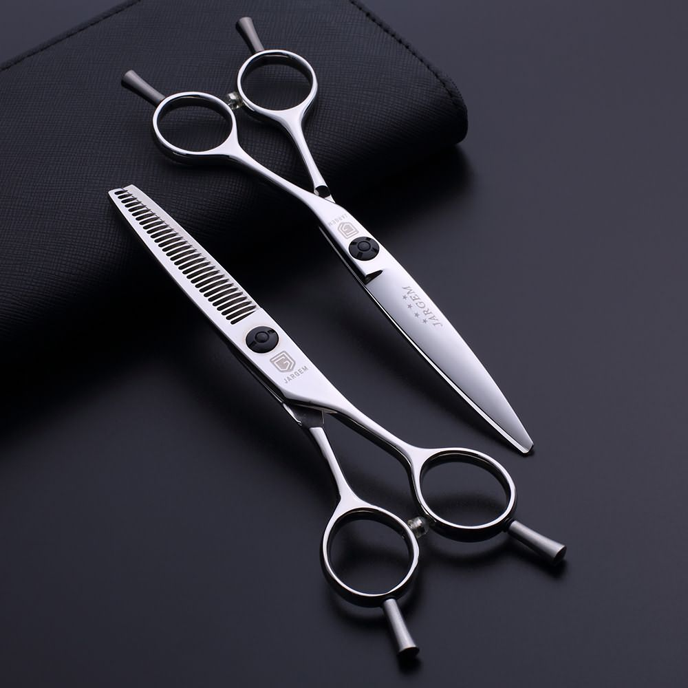 Removable finger rest hairdressing scissors set