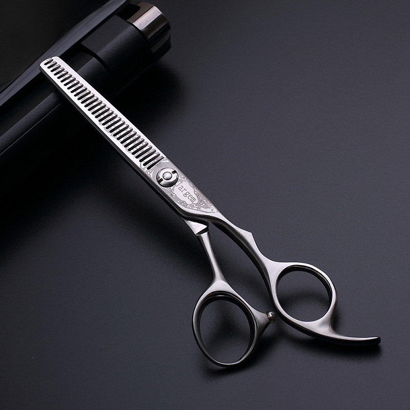 Flower engrave blade 6.0 inch hair thinning scissors