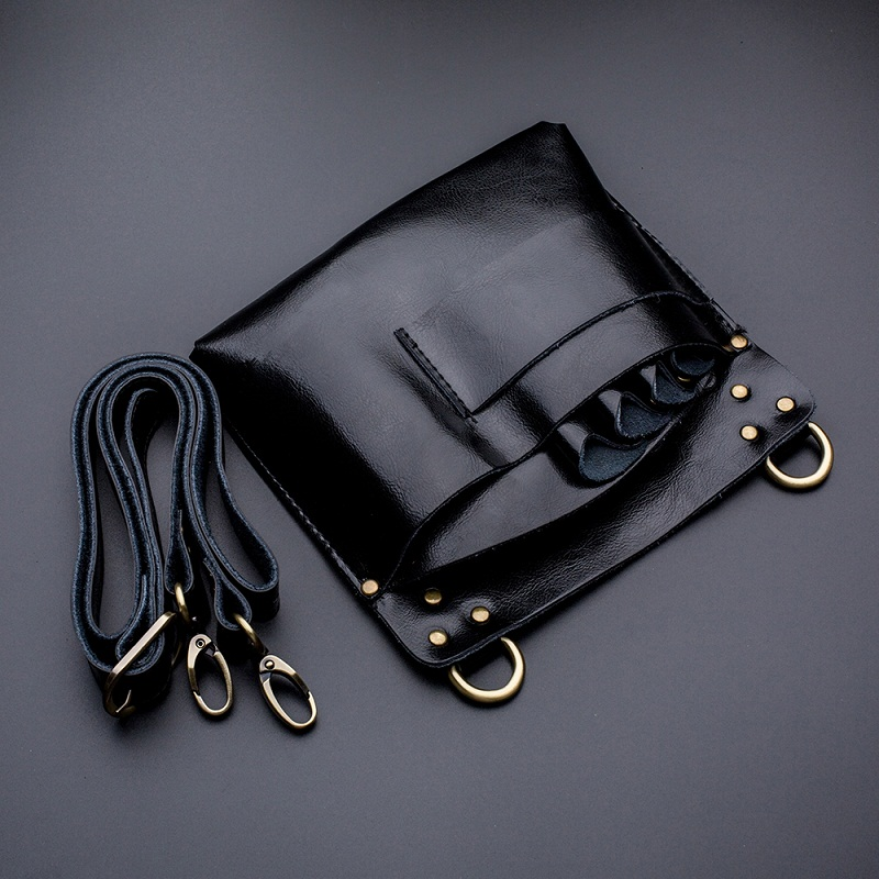 Black genuine leather hair scissors pouch