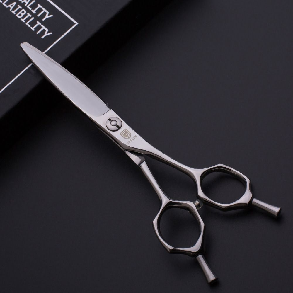 Curved handle design hairdressers scissors for sliding cutting