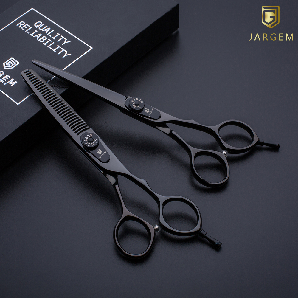 Black coated hair scissors set