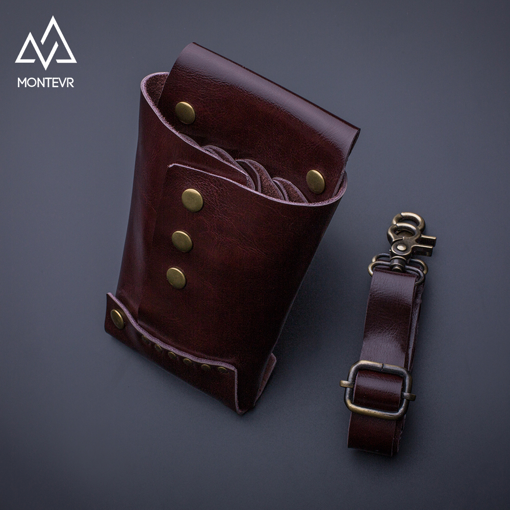 Fashion design genuine leather hair scissors holster with leather waist belt