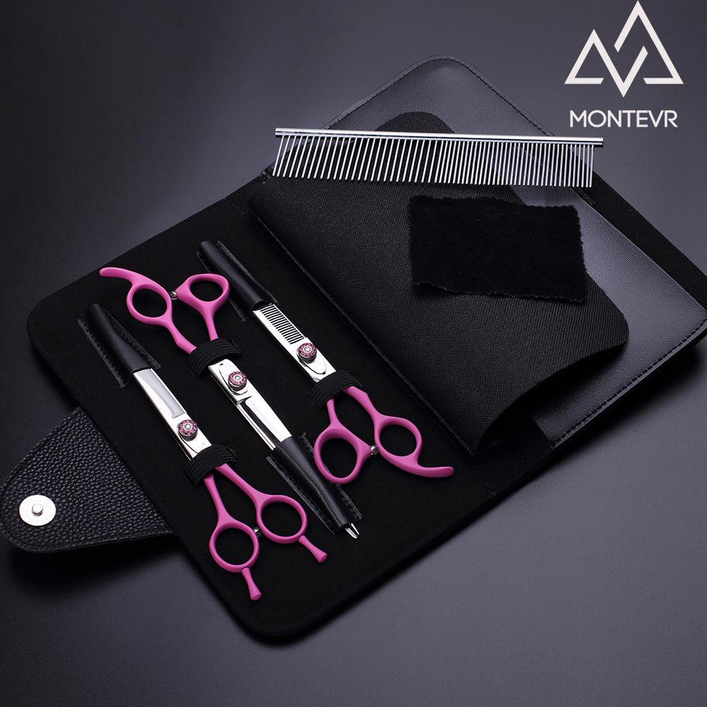 Pink coated handle pet grooming scissors set with genuine leather case