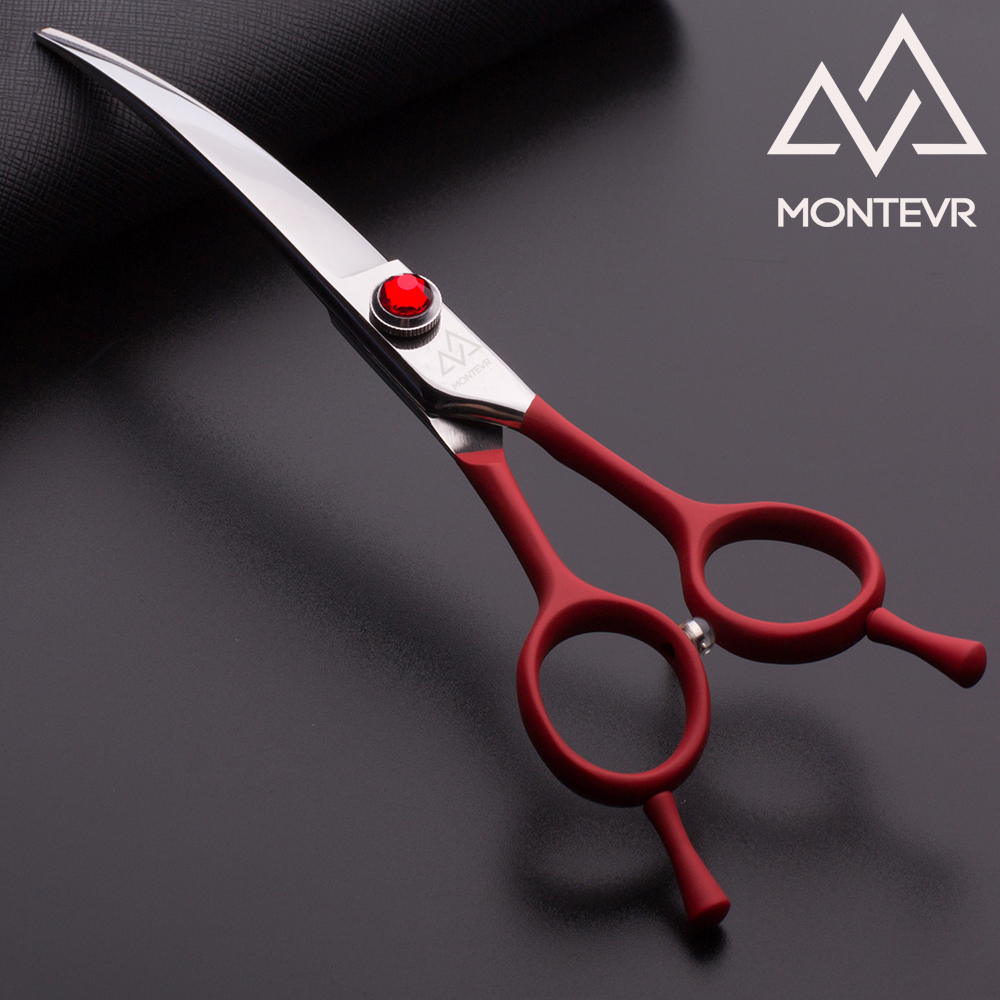 Red handle coated curved blade pet grooming scissors