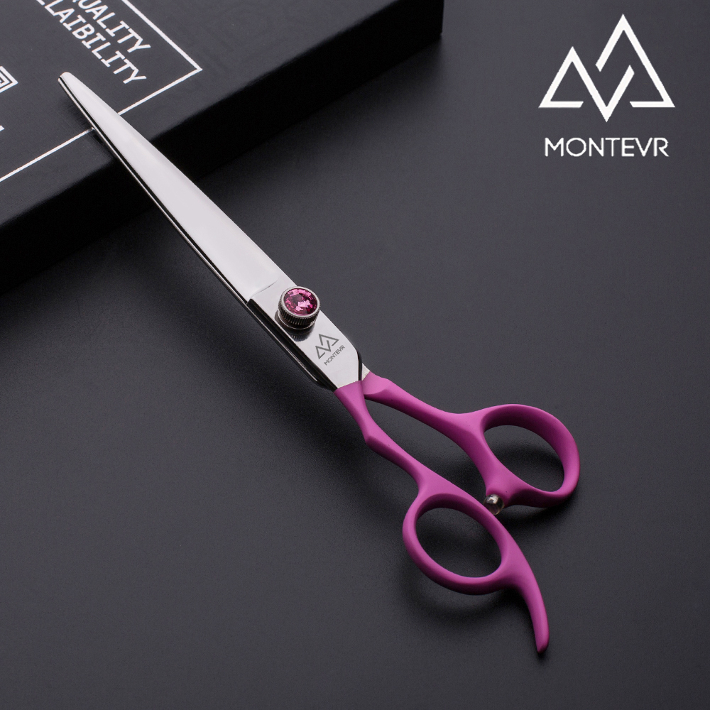 High quality dog grooming scissors in left hand